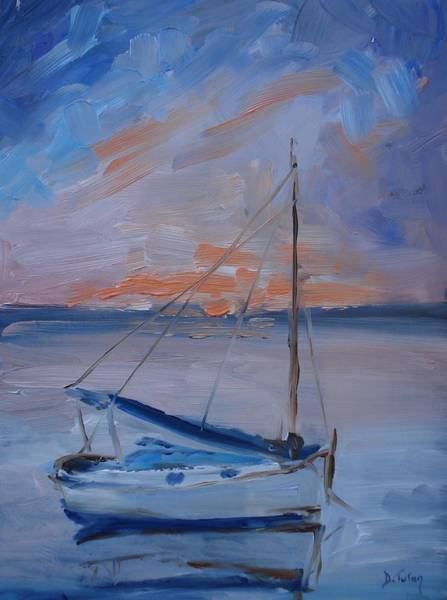 Impressionistic Sailboats Painting - Sailboat Reflections II by Donna Tuten