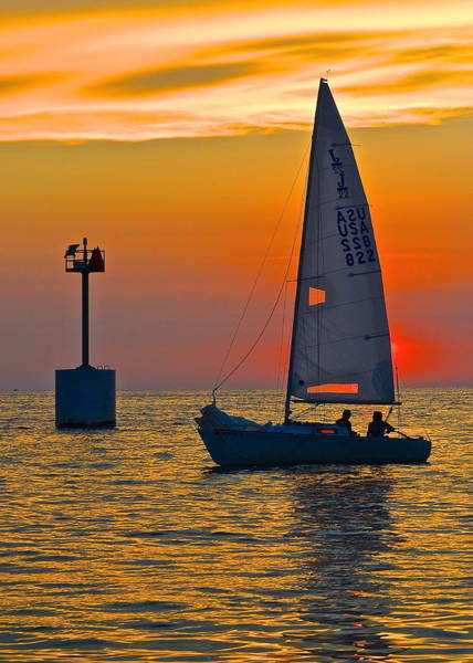 Marine Layer Photograph - Sailboat Sunset by Frozen in Time Fine Art Photography