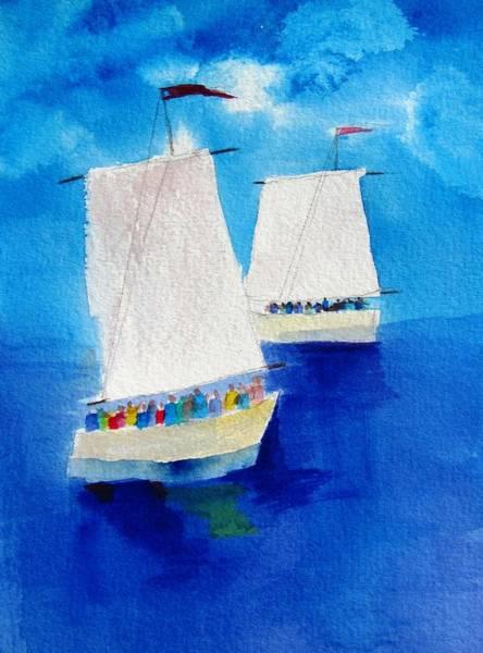 2 Sailboats Art Print