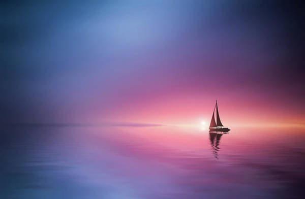 Sailing Photograph - Sailing Across The Lake Toward The Sunset by Bess Hamiti