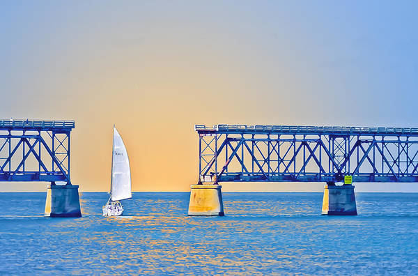 Bahia Honda Photograph - Sailing Through The Flagler Bridge by Patrick M Lynch