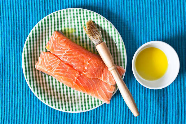 Olive Oil Photograph - Salmon Fillets by Tom Gowanlock