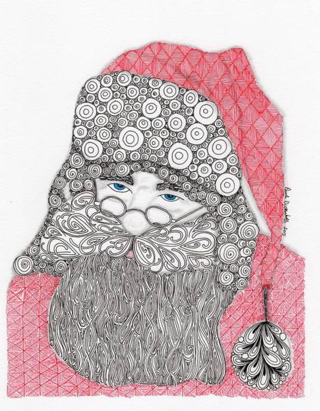 Holiday Drawing - Santangle by Paula Dickerhoff