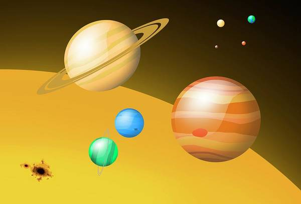 Schematic Wall Art - Photograph - Scale Of Solar System Bodies by Mark Garlick/science Photo Library