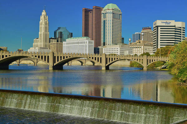 Scioto Photograph - Scioto River With Waterfall by Panoramic Images
