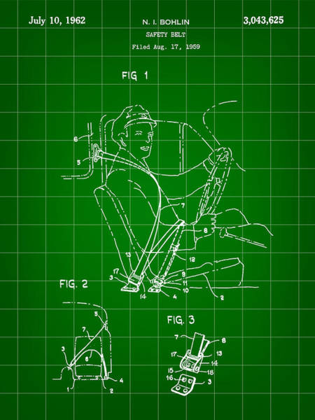 Wall Art - Digital Art - Seat Belt Patent 1959 - Green by Stephen Younts
