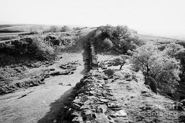Hadrians Wall Photograph - Section Of Hadrians Wall At Walltown Crags Northumberland Uk by Joe Fox