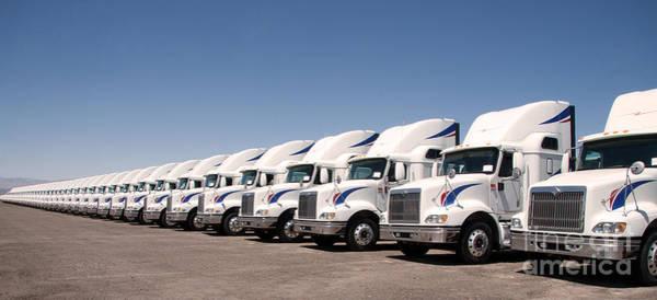 Photograph - Semi Truck Fleet by Gunter Nezhoda