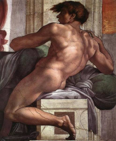 Apostolic Palace Wall Art - Painting - Separation Of Land From Sea - Ignudo Detail by Michelangelo Buonarroti