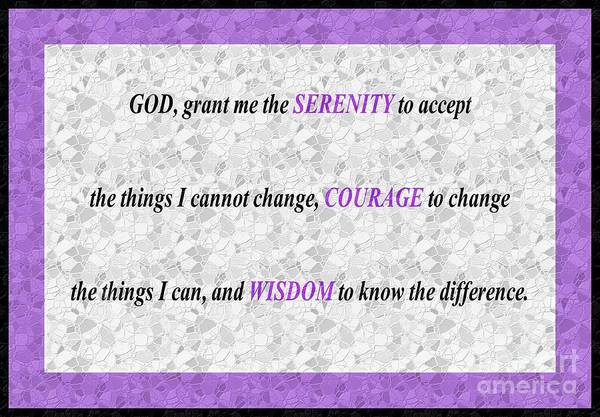 Serenity Prayer Digital Art - Serenity Prayer Lilac Mosaic by Barbara Griffin