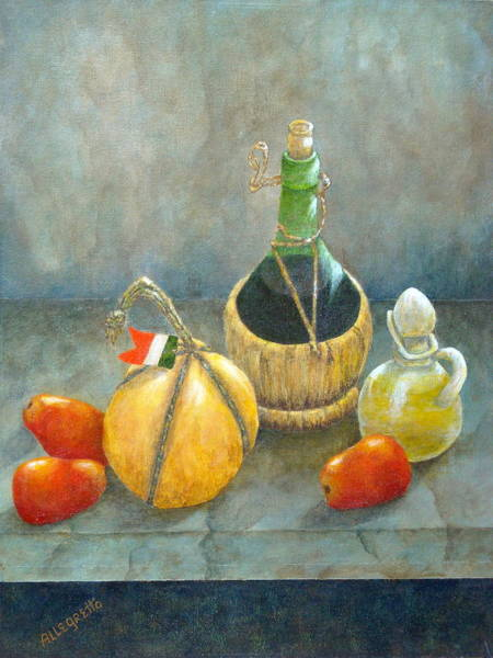 Olive Oil Painting - Sicilian Table by Pamela Allegretto