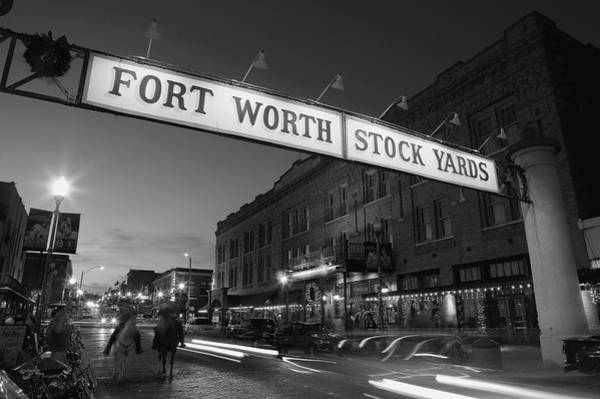 Fort Worth Photograph - Signboard Over A Road At Dusk, Fort by Panoramic Images