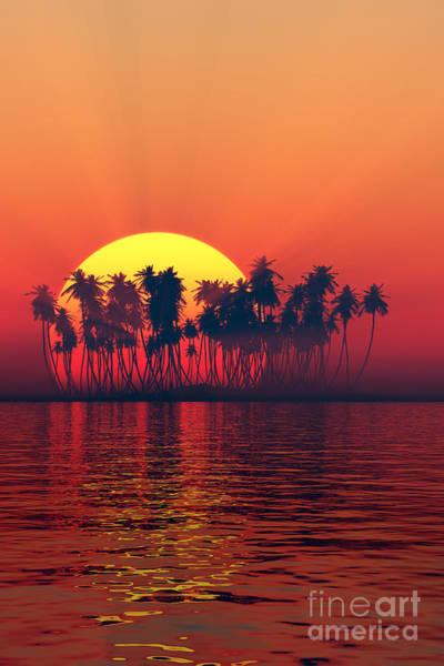 Big Island Digital Art - Silhouette Of Island Sunset by Aleksey Tugolukov