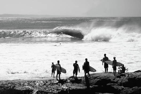 Wall Art - Photograph - Silhouette Of Surfers Standing by Panoramic Images