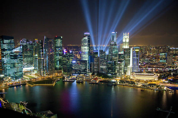 Wall Art - Photograph - Singapore Downtown Overview At Night by Jaynes Gallery