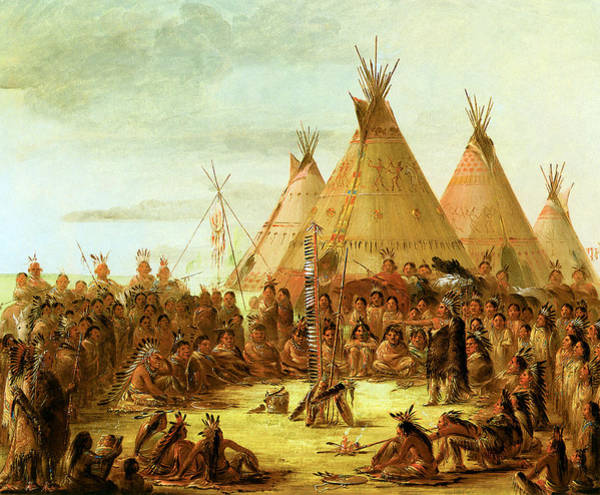 Wall Art - Photograph - Sioux War Council by George Catlin