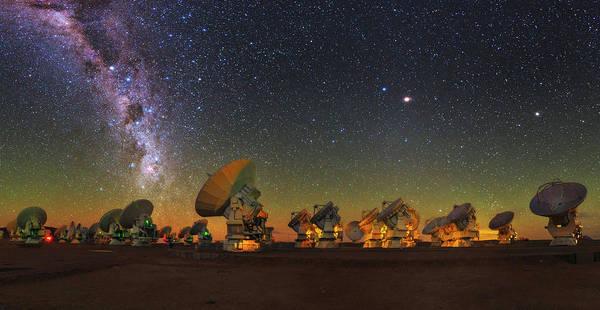 Wall Art - Photograph - Sky Above Alma Radio Telescope by Babak Tafreshi