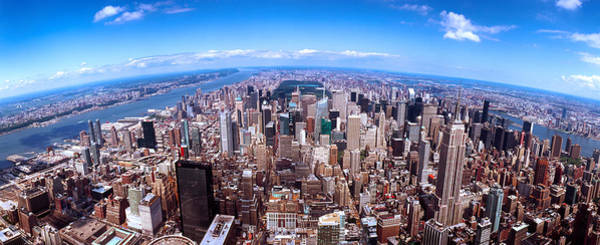 Fish Eye Lens Photograph - Skyscrapers In A City, Manhattan, New by Panoramic Images