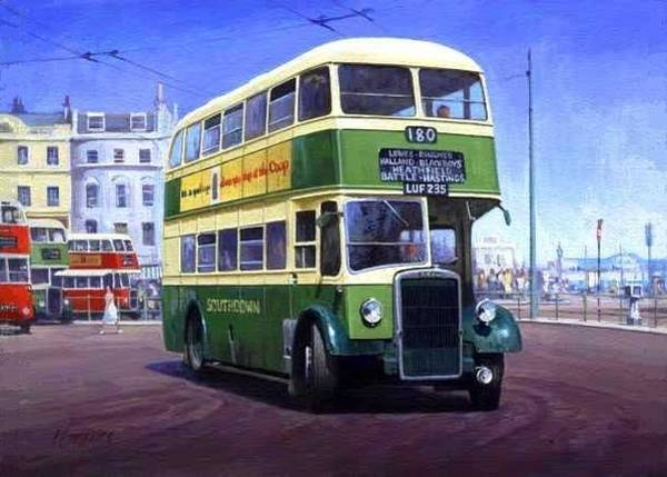 Brighton Painting - Southdown Leyland. by Mike Jeffries