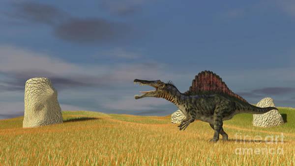 Digital Art - Spinosaurus Walking Across A Grassy by Kostyantyn Ivanyshen