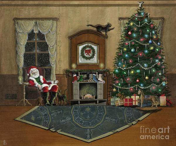 Ming Tree Painting - St. Nicholas Sitting In A Chair On Christmas Eve by John Lyes