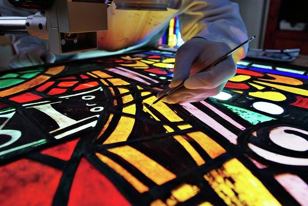 Wall Art - Photograph - Stained Glass Restoration by Marco Ansaloni / Science Photo Library