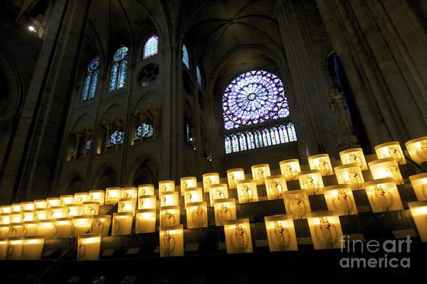 Wall Art - Photograph - Stained Glass Window Of Notre Dame De Paris. France by Bernard Jaubert