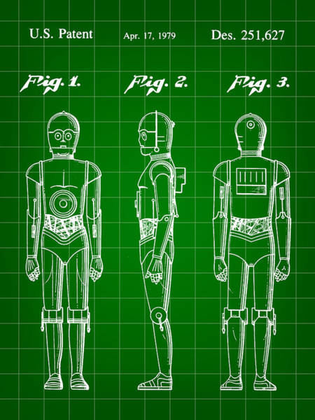 Star Wars Wall Art - Digital Art - Star Wars C-3po Patent 1979 - Green by Stephen Younts