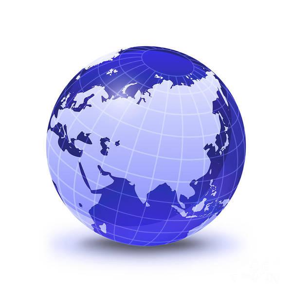Eastern Europe Digital Art - Stylized Earth Globe With Grid, Showing by Leonello Calvetti