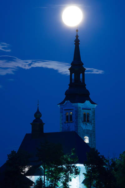 Perigee Moon Photograph - Supermoon Over Bled Island Church by Ian Middleton
