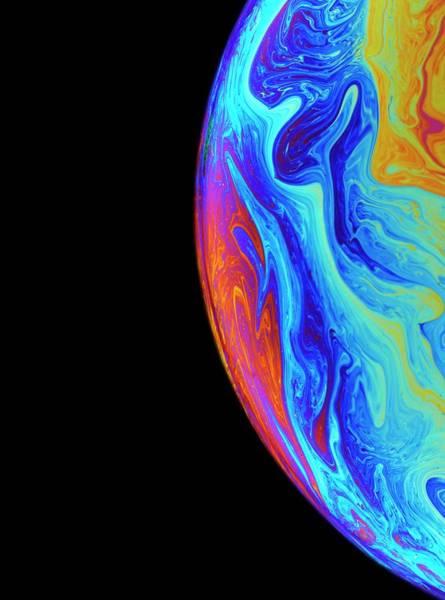 Soap Bubble Photograph - Surface Colours Of A Soap Bubble by David Parker