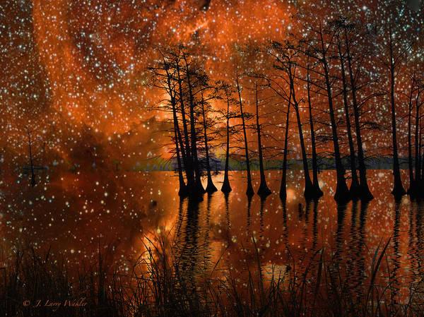 Cypress Digital Art - Surrealistic Sunrise by J Larry Walker