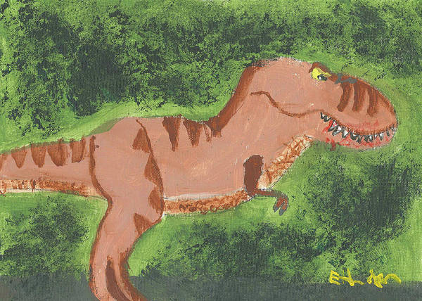 Painting - T-rex Hunting by Fred Hanna