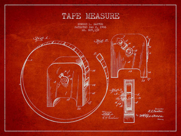 Measure Wall Art - Digital Art - Tape Measure Patent Drawing From 1906 by Aged Pixel