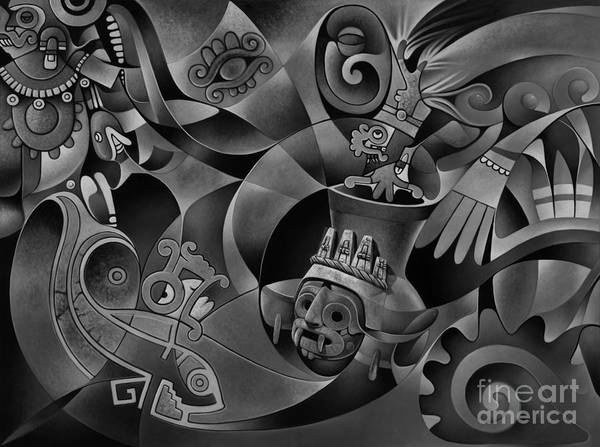 Wall Art - Painting - Tapestry Of Gods - Tlaloc by Ricardo Chavez-Mendez