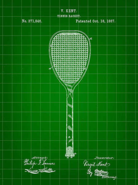 Wall Art - Digital Art - Tennis Racket Patent 1887 - Green by Stephen Younts