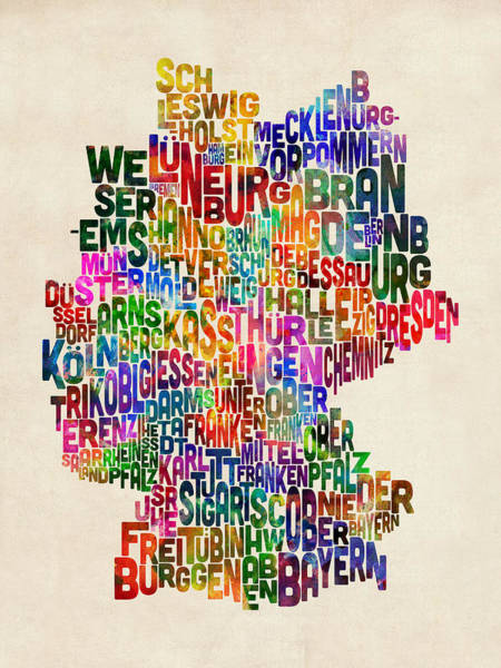 Text Wall Art - Digital Art - Text Map Of Germany Map by Michael Tompsett
