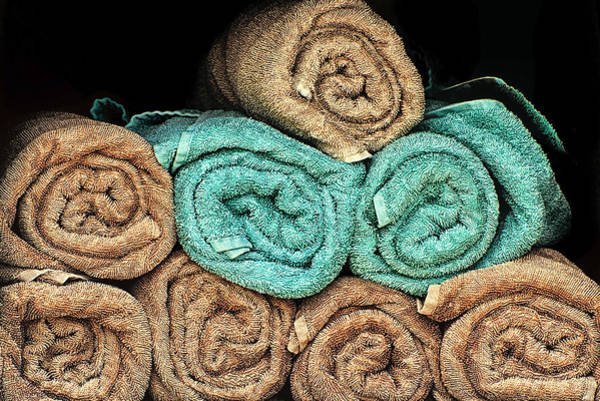 Photograph - Textured Towels Rolled And Stacked by Gary Slawsky
