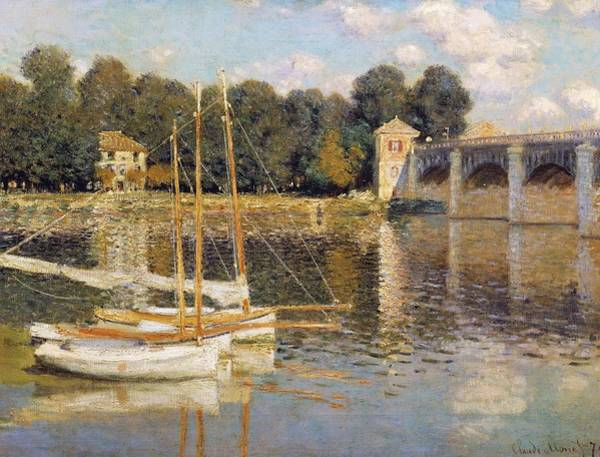 Moored Painting - The Argenteuil Bridge by Claude Monet