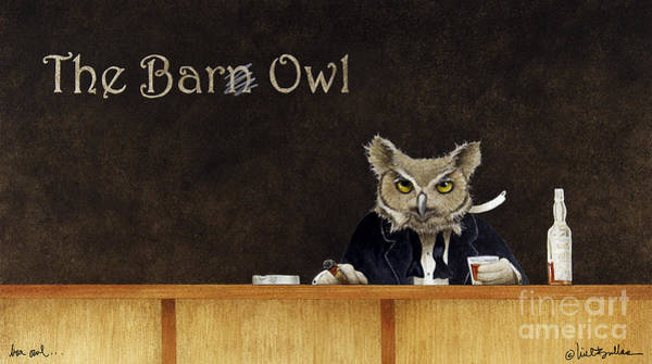 Bar Scene Painting - The Bar Owl... by Will Bullas