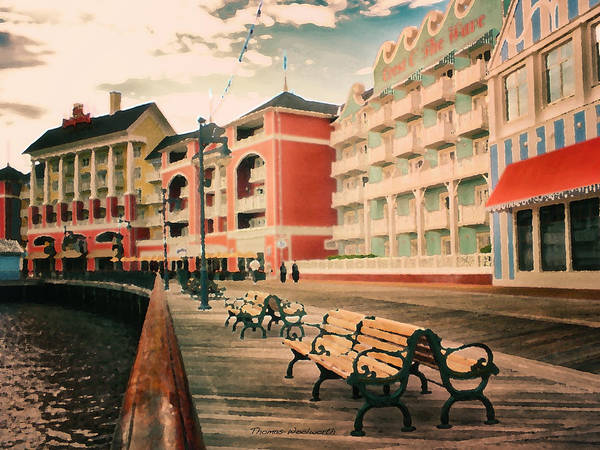 Wall Art - Photograph - The Boardwalk At Walt Disney World Pa by Thomas Woolworth