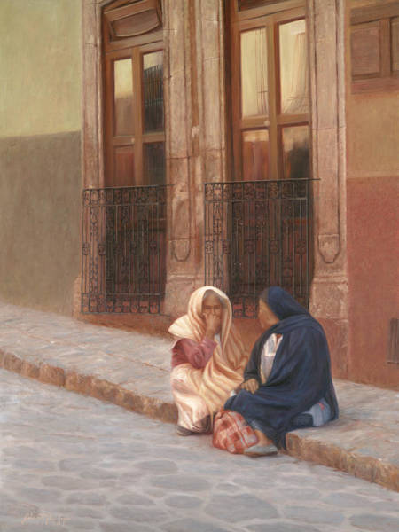 San Miguel De Allende Wall Art - Painting - The Conversation by Julia O'Malley-Keyes