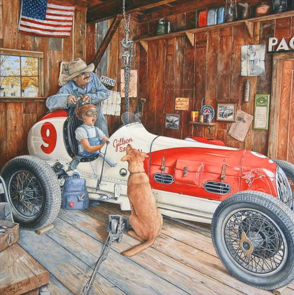 Old Car Wall Art - Painting - The Driving Lesson by Ruben Duran