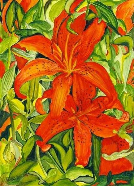 Tigerlily Wall Art - Painting - The Entertainer Lily Watercolor 012 by Pamela Ramey Tatum