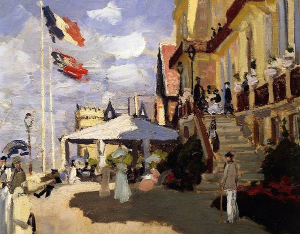 Normandy Painting - The Hotel Des Roches Noires At Trouville by Claude Monet