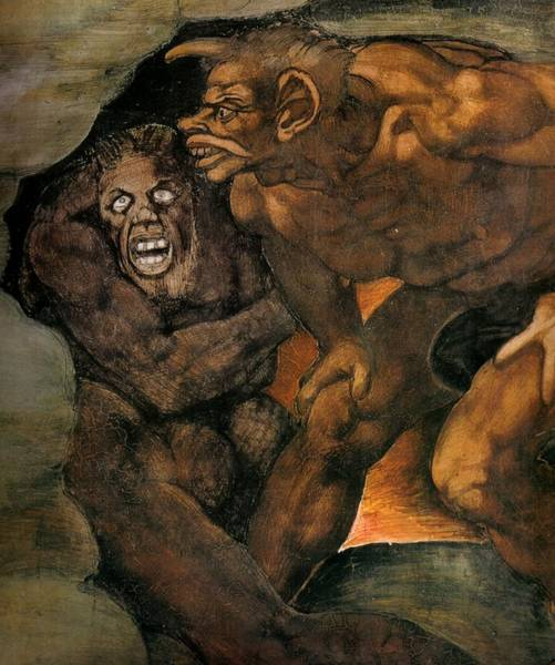 Apostolic Palace Wall Art - Painting - The Last Judgment - Detail by Michelangelo Buonarroti