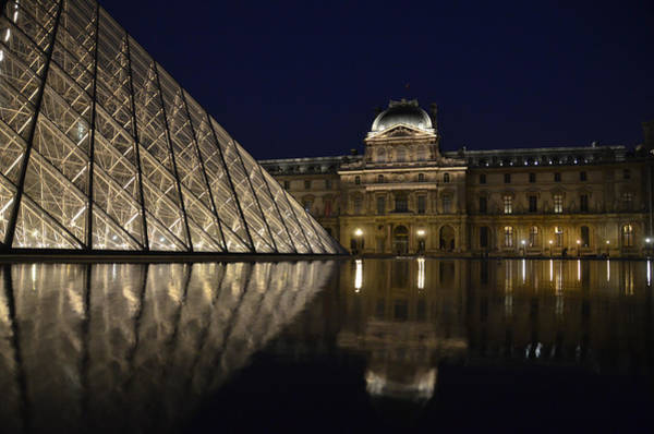Cours Photograph - The Louvre Palace And The Pyramid At Night by RicardMN Photography