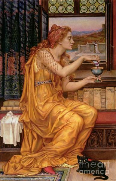Black Cat Painting - The Love Potion by Evelyn De Morgan