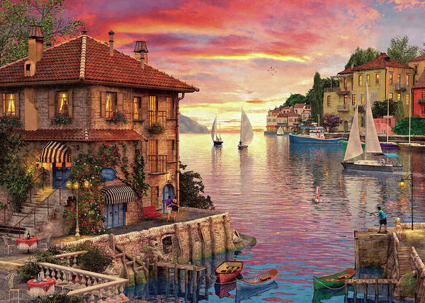 Hotel Drawing - The Mediterranean Harbour by Dominic Davison