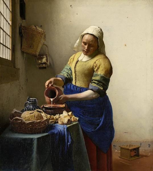 Amsterdam Painting - The Milkmaid by Johannes Vermeer